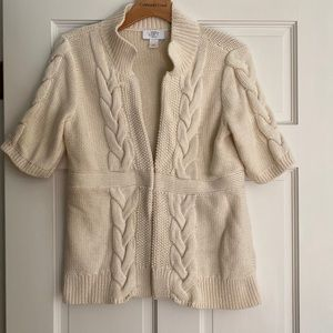 LOFT Cream Short Sleeve Cardigan Clasp Sweater MP